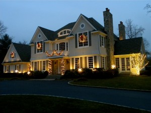 Holiday lighting looks best when combined with other forms of outdoor lighting.