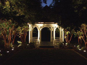 Gazebo's lend themselves to beautiful custom outdoor lighting designs that not only make them a focal point but also a cozy space after the sun sets.