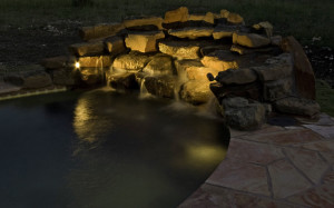 Waterfalls are enhanced in Columbus with outdoor lighting