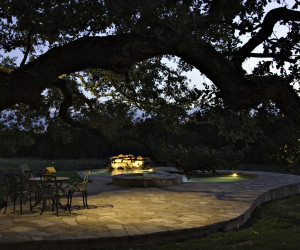 Installing lights in trees can give the area a safe and enchanting feel.