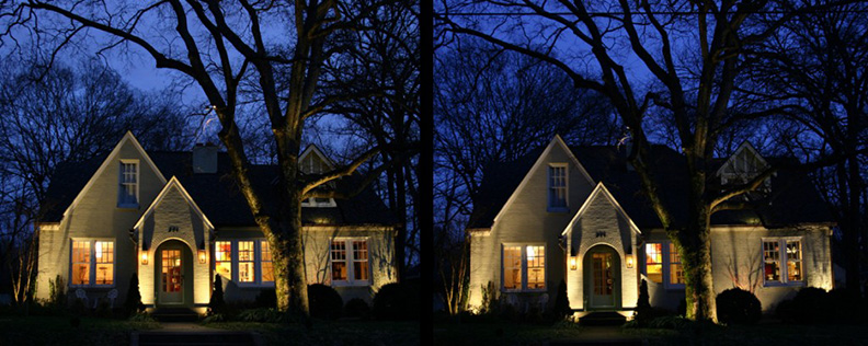 Which home is using traditional halogen lighting and which is retrofitted with LED?